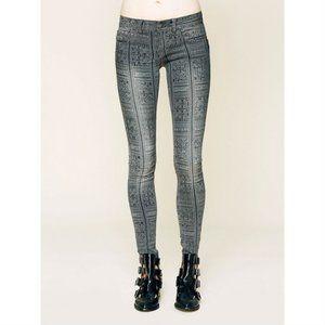Free People Batik Isla Print Gray Skinny Jeans